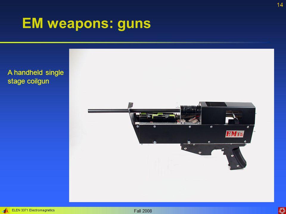 ELEN 3371 Electromagnetics Fall 2008 14 EM weapons: guns A handheld single stage coilgun