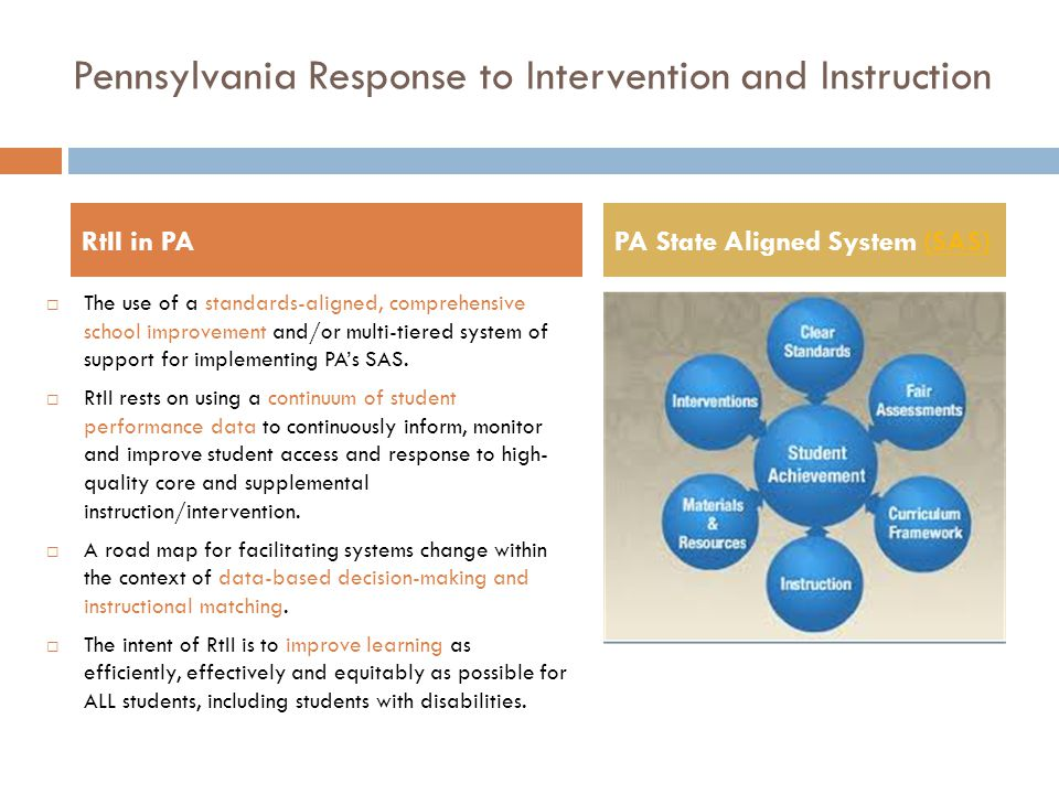 Pennsylvania Response to Intervention and Instruction RtII in PAPA State Aligned System (SAS)(SAS)  The use of a standards-aligned, comprehensive sch