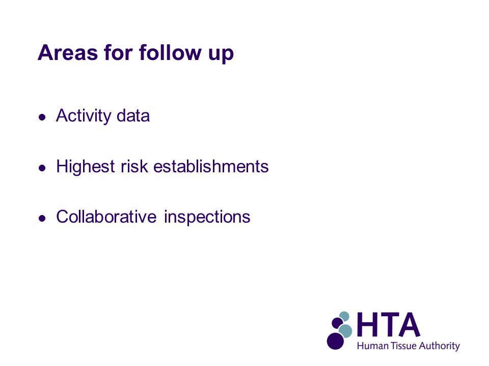 Areas for follow up Activity data Highest risk establishments Collaborative inspections