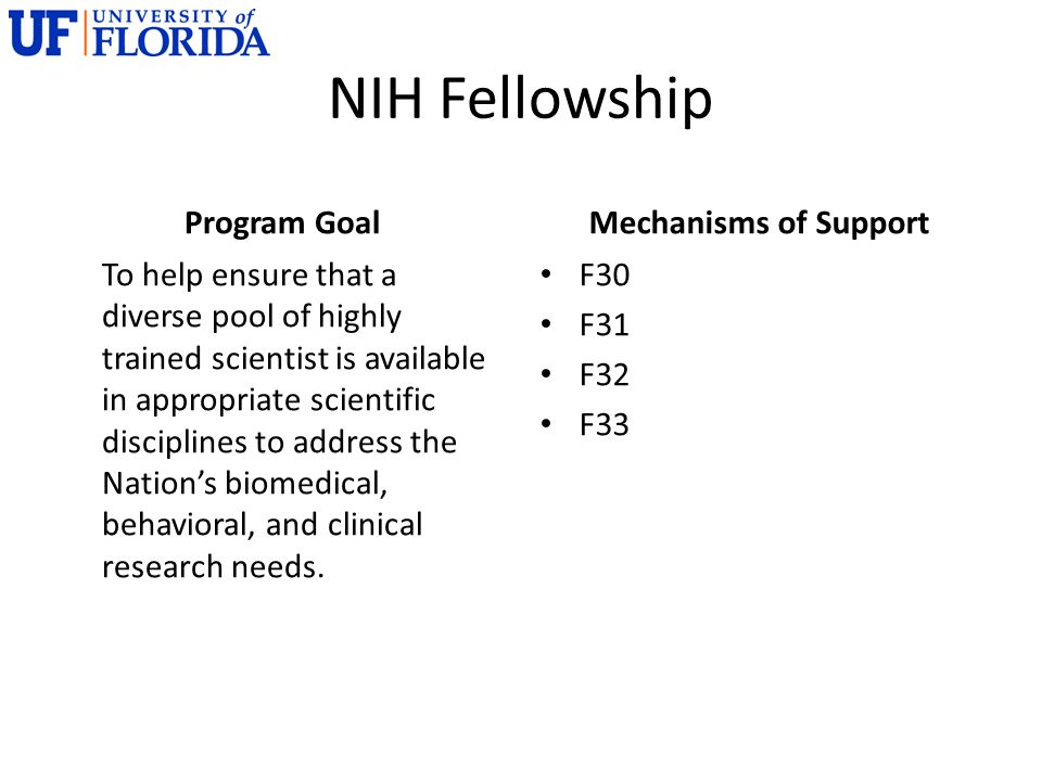 NIH Fellowship Program Goal To help ensure that a diverse pool of highly trained scientist is available in appropriate scientific disciplines to address the Nation's biomedical, behavioral, and clinical research needs.