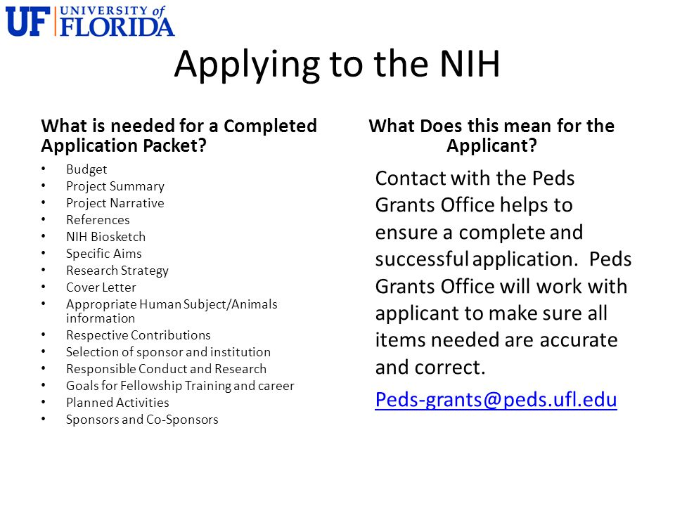 Applying to the NIH What is needed for a Completed Application Packet.