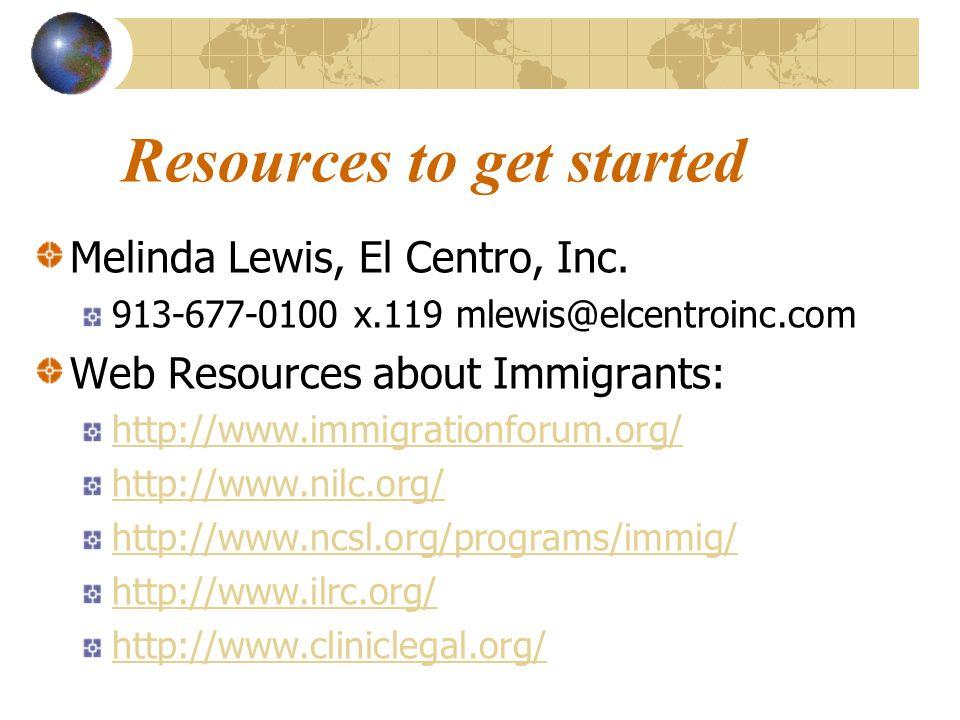 Resources to get started Melinda Lewis, El Centro, Inc.