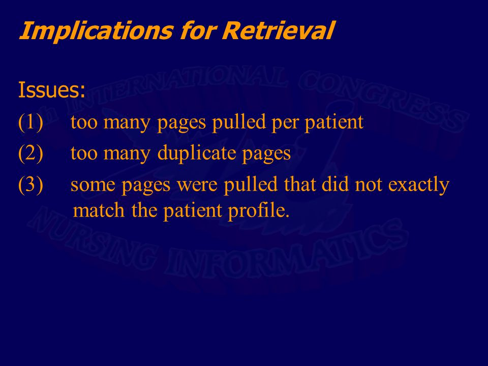 Implications for Retrieval Issues: (1) too many pages pulled per patient (2) too many duplicate pages (3) some pages were pulled that did not exactly match the patient profile.