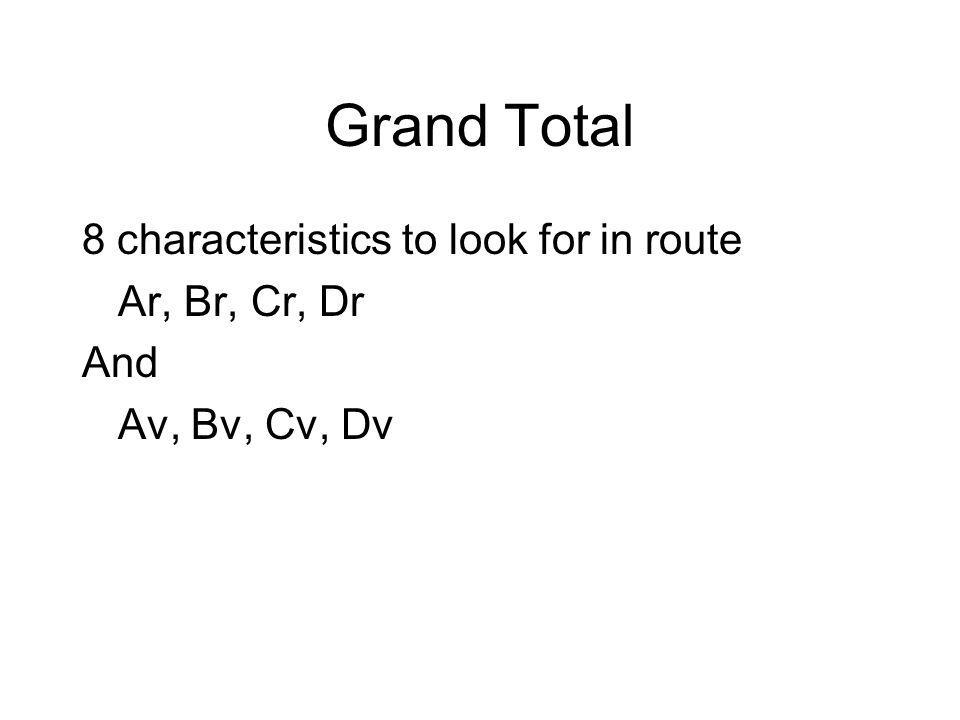 Grand Total 8 characteristics to look for in route Ar, Br, Cr, Dr And Av, Bv, Cv, Dv
