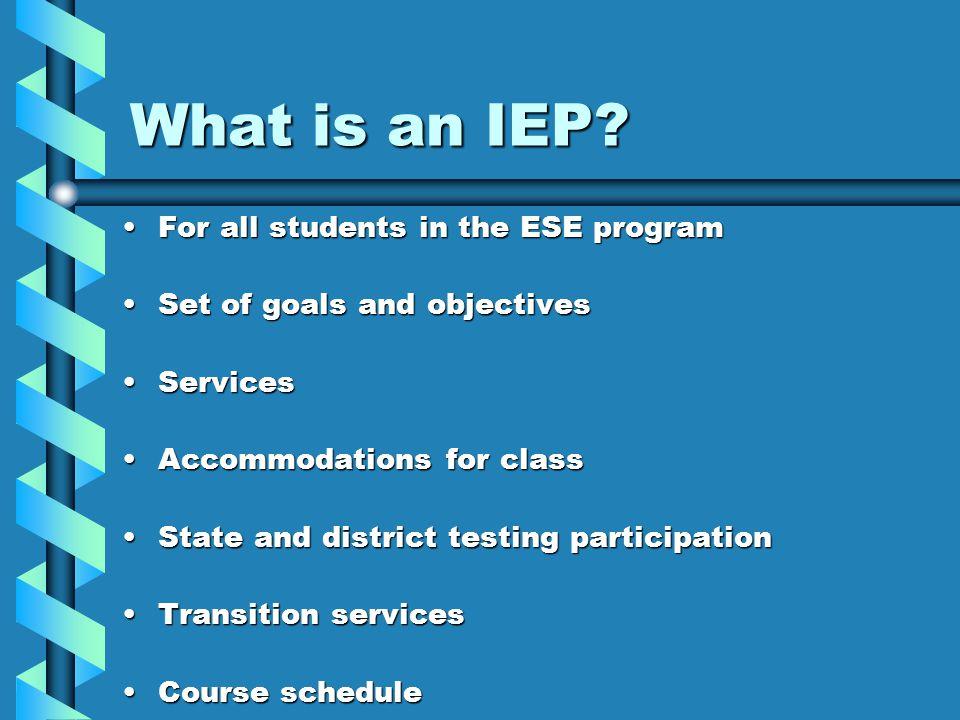 The Individual Education Plan (IEP) (In a nutshell) Krystal Culpepper University of North Florida SOAR Program-2004 IEP