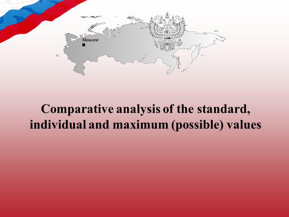 Comparative analysis of the standard, individual and maximum (possible) values