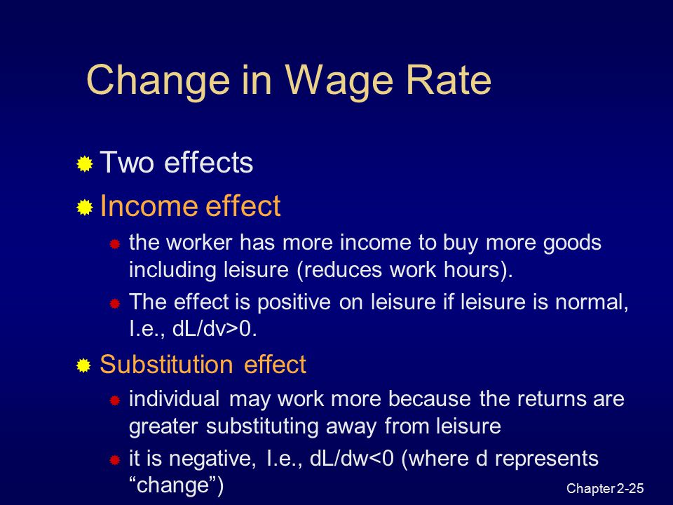 Chapter 2-24 Effect of Non-labour Income on Hours of Work   in nonlabour income results in a parallel shift outward of the budget constraint  normal good-if leisure is a normal good more will be consumed resulting in less work hours  inferior good- if leisure is an inferior good less will be consumed and more work hours are spent