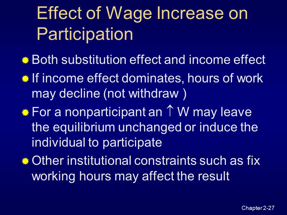 Chapter 2-26 E0E0 leisure 0 Income U0U0 T -W 0 Figure 2.8 Income and Substitution Effect of Wage Increase l0l0 E' l' Substitution effect Income effect Net effect W 0 T=Y N W 1 T=Y N l1l1 U1U1 E1E1 -W 1