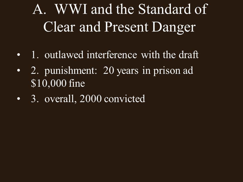 Schenck v.United States 1. Charles Schenck, member of the Socialist Party 2.