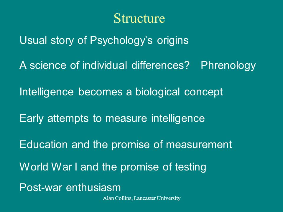 Structure Usual story of Psychology's origins A science of individual differences.