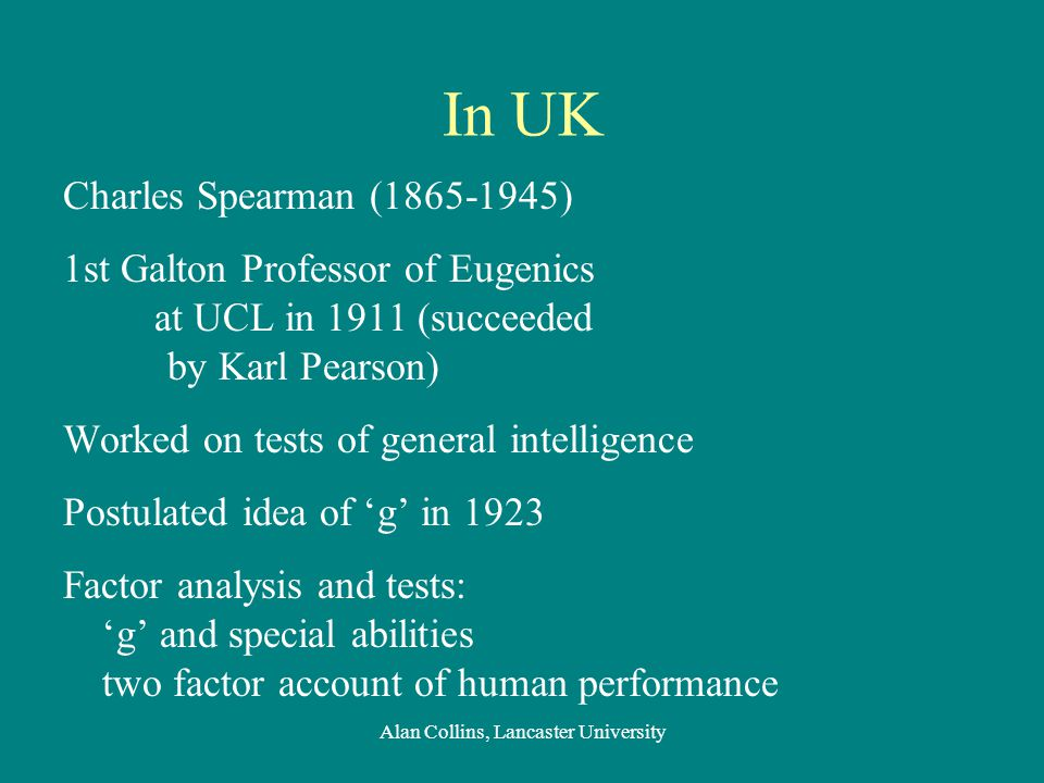 In UK Charles Spearman (1865-1945) 1st Galton Professor of Eugenics at UCL in 1911 (succeeded by Karl Pearson) Worked on tests of general intelligence Postulated idea of 'g' in 1923 Factor analysis and tests: 'g' and special abilities two factor account of human performance Alan Collins, Lancaster University