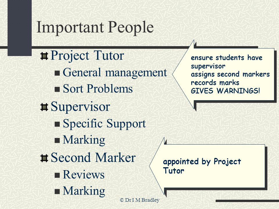 © Dr I M Bradley Important People Project Tutor General management Sort Problems Supervisor Specific Support Marking Second Marker Reviews Marking ensure students have supervisor assigns second markers records marks GIVES WARNINGS.
