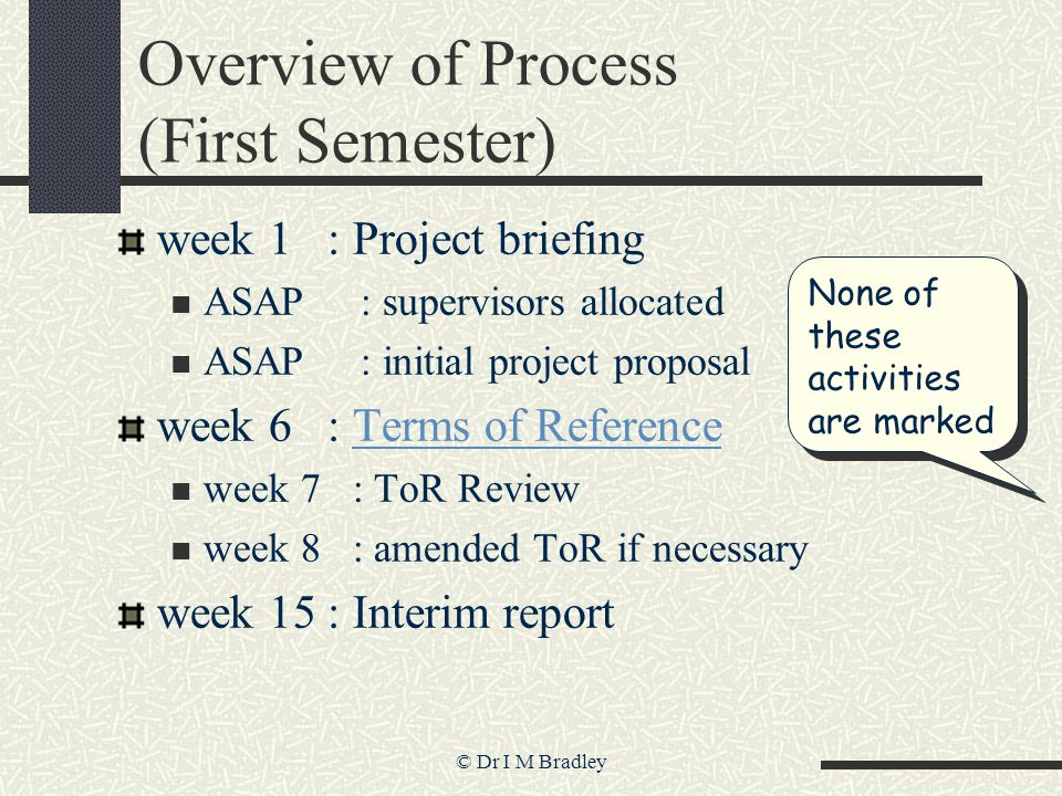 © Dr I M Bradley Overview of Process (First Semester) week 1 : Project briefing ASAP : supervisors allocated ASAP : initial project proposal week 6 : Terms of ReferenceTerms of Reference week 7 : ToR Review week 8 : amended ToR if necessary week 15 : Interim report None of these activities are marked
