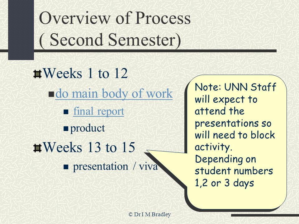 © Dr I M Bradley Overview of Process ( Second Semester) Weeks 1 to 12 do main body of work final report product Weeks 13 to 15 presentation / viva Not