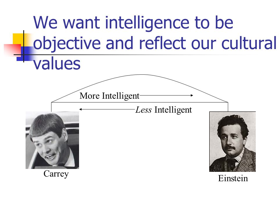 We want intelligence to be objective and reflect our cultural values More Intelligent Less Intelligent Einstein Carrey
