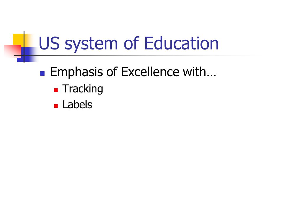 US system of Education Emphasis of Excellence with… Tracking Labels