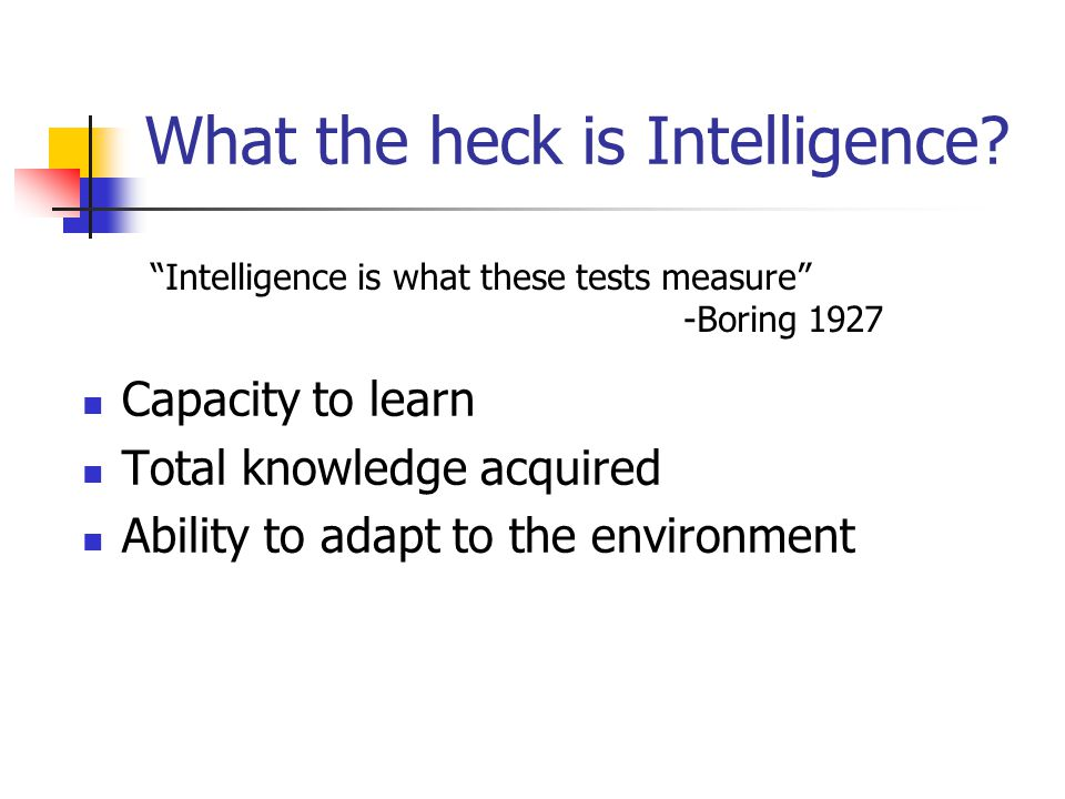 What the heck is Intelligence.