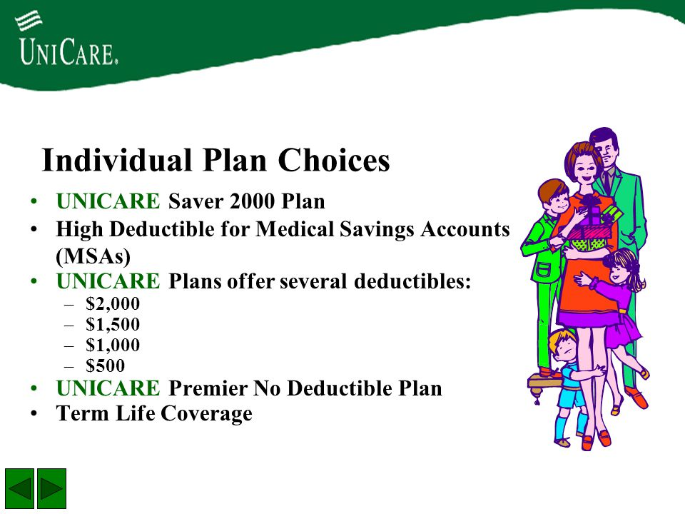 UNICARE Saver 2000 Plan High Deductible for Medical Savings Accounts (MSAs) UNICARE Plans offer several deductibles: –$2,000 –$1,500 –$1,000 –$500 UNI
