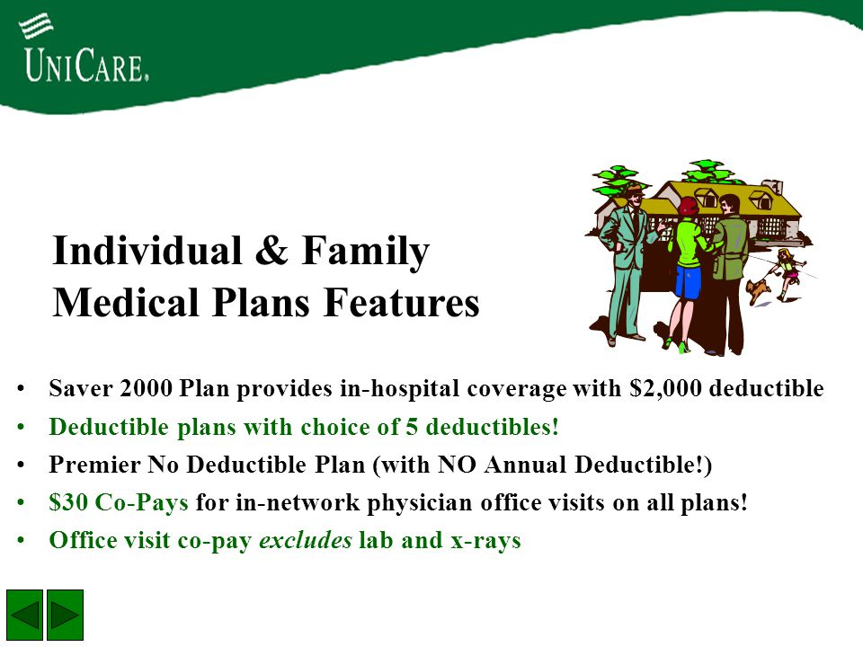 Saver 2000 Plan provides in-hospital coverage with $2,000 deductible Deductible plans with choice of 5 deductibles! Premier No Deductible Plan (with N