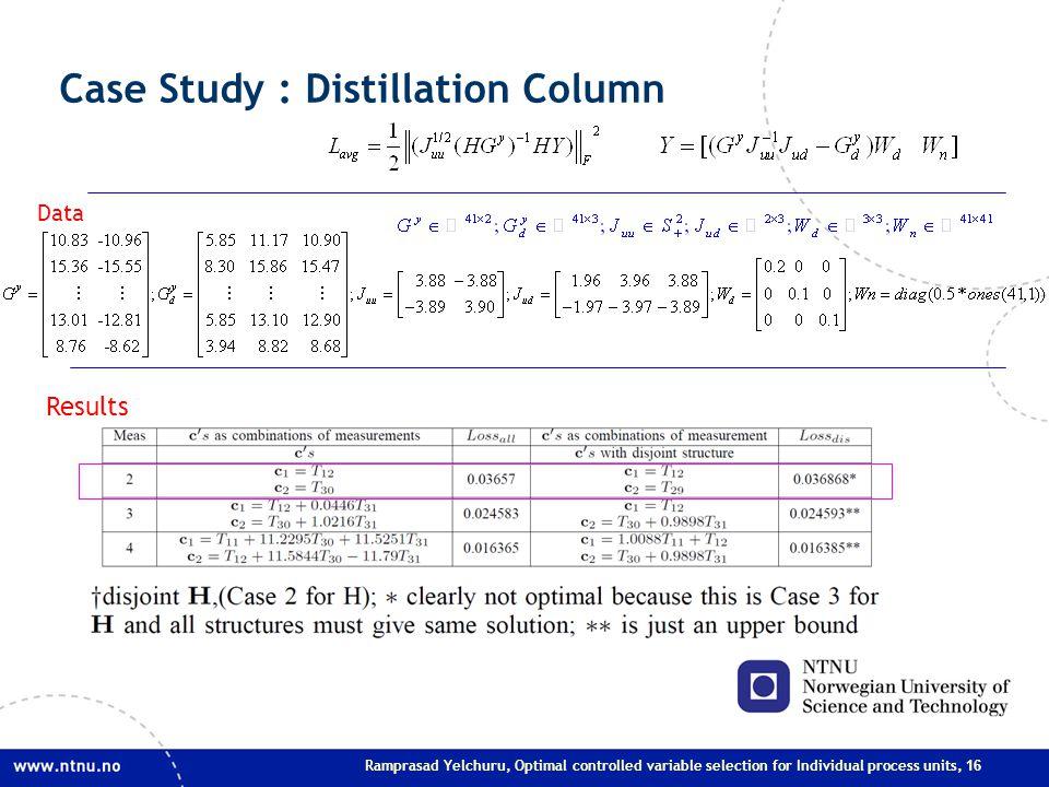 Ramprasad Yelchuru, Optimal controlled variable selection for Individual process units, 16 Case Study : Distillation Column Results Data