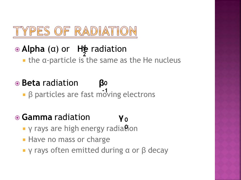  Alpha (α) or He radiation  the α-particle is the same as the He nucleus  Beta radiation β  β particles are fast moving electrons  Gamma radiation γ  γ rays are high energy radiation  Have no mass or charge  γ rays often emitted during α or β decay 4242 0 0