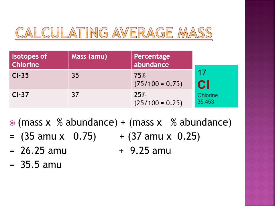  (mass x % abundance) + (mass x % abundance) = (35 amu x 0.75)+ (37 amu x 0.25) = 26.25 amu + 9.25 amu = 35.5 amu Isotopes of Chlorine Mass (amu)Perc