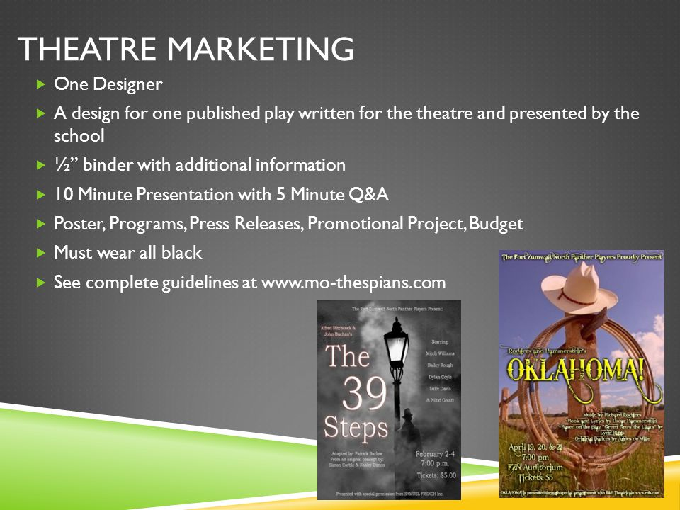 "THEATRE MARKETING  One Designer  A design for one published play written for the theatre and presented by the school  ½"" binder with additional inf"