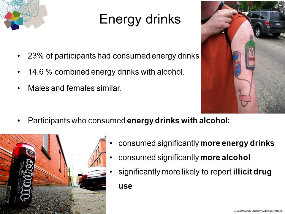 Centre for Mental Health and Wellbeing Research Energy drinks 23% of participants had consumed energy drinks 14.6 % combined energy drinks with alcohol.