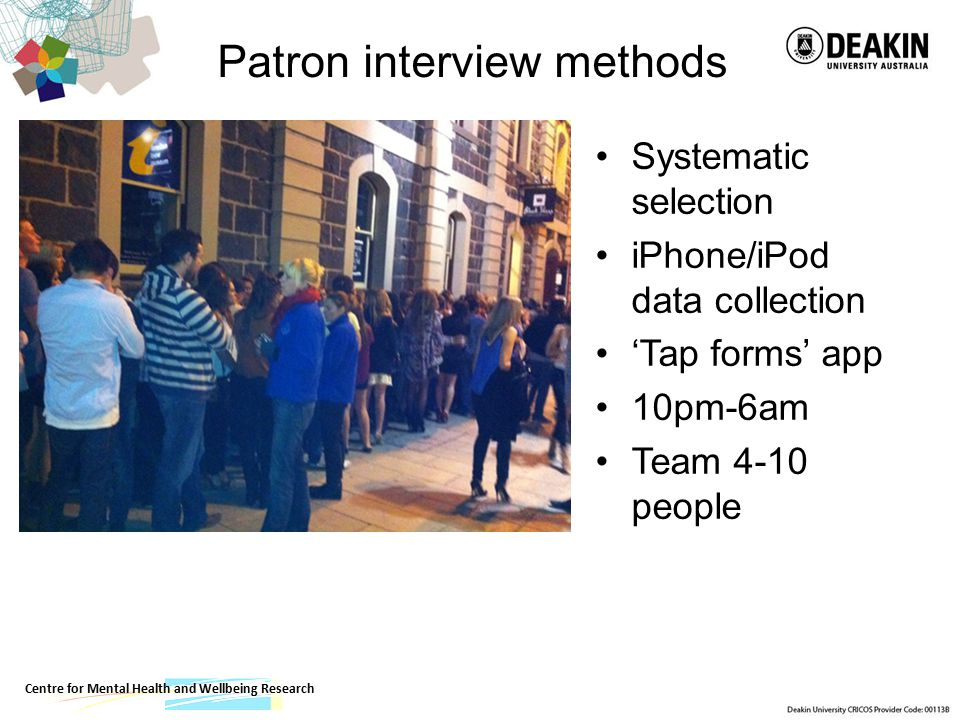 Patron interview methods Systematic selection iPhone/iPod data collection 'Tap forms' app 10pm-6am Team 4-10 people