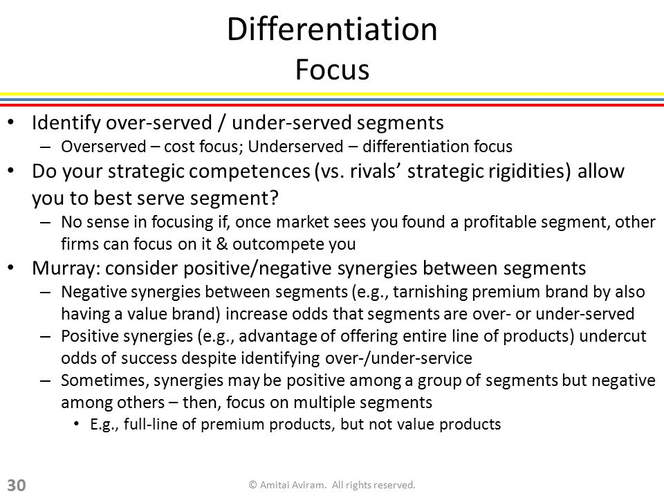 Differentiation Focus Identify over-served / under-served segments – Overserved – cost focus; Underserved – differentiation focus Do your strategic co