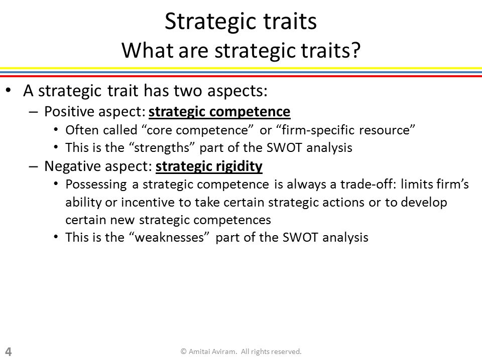 "Strategic traits What are strategic traits? A strategic trait has two aspects: – Positive aspect: strategic competence Often called ""core competence"""