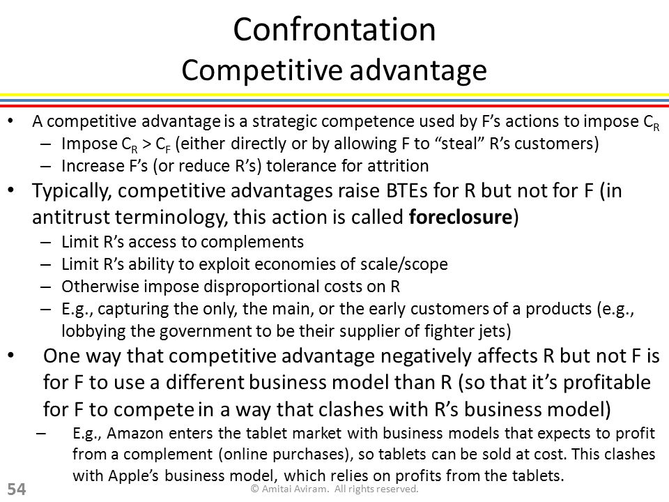 Confrontation Competitive advantage A competitive advantage is a strategic competence used by F's actions to impose C R – Impose C R > C F (either dir