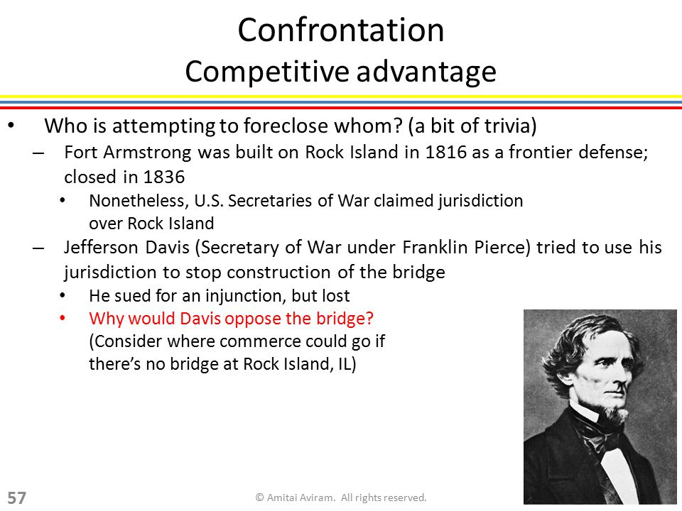 Confrontation Competitive advantage Who is attempting to foreclose whom? (a bit of trivia) – Fort Armstrong was built on Rock Island in 1816 as a fron