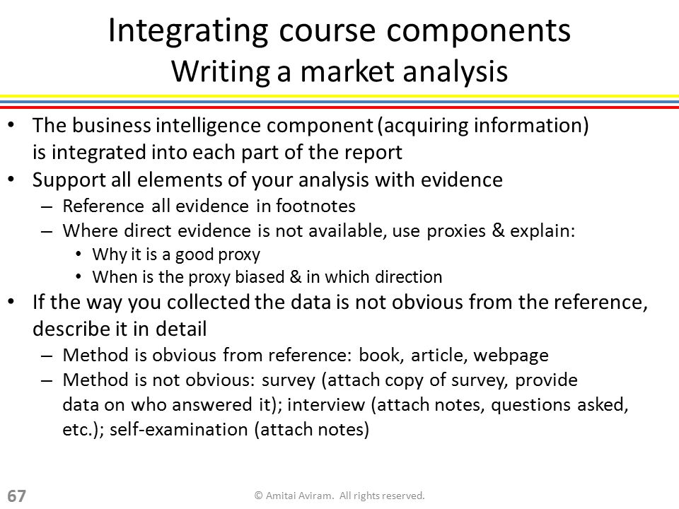 Integrating course components Writing a market analysis The business intelligence component (acquiring information) is integrated into each part of th