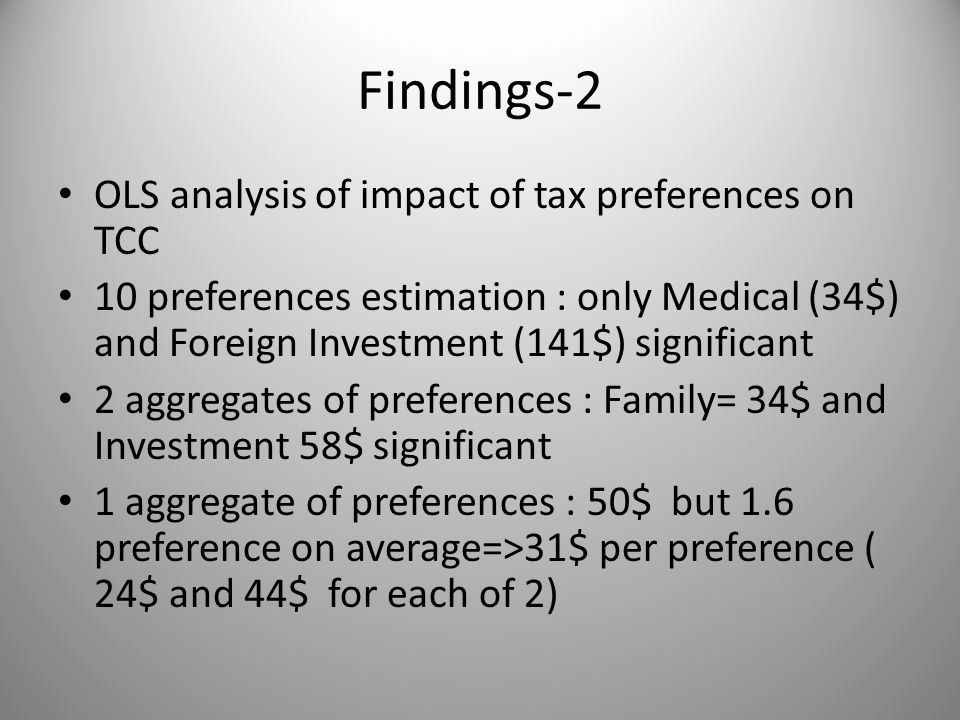 Findings-2 OLS analysis of impact of tax preferences on TCC 10 preferences estimation : only Medical (34$) and Foreign Investment (141$) significant 2