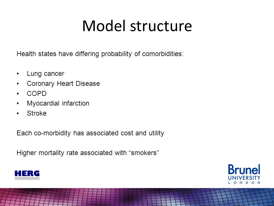 Model structure Health states have differing probability of comorbidities: Lung cancer Coronary Heart Disease COPD Myocardial infarction Stroke Each c