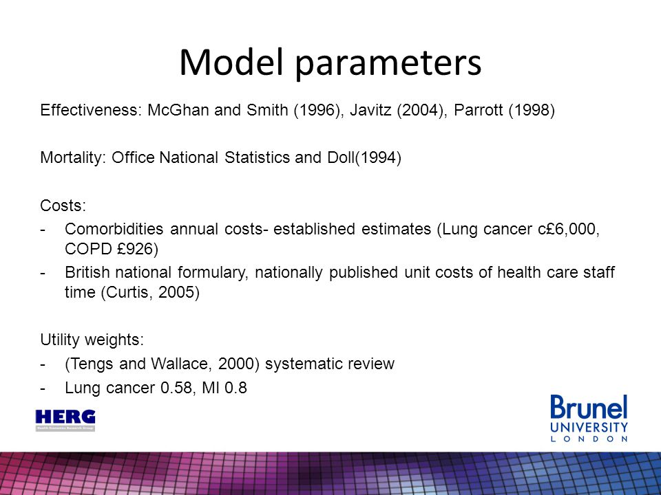 Model parameters Effectiveness: McGhan and Smith (1996), Javitz (2004), Parrott (1998) Mortality: Office National Statistics and Doll(1994) Costs: -Co