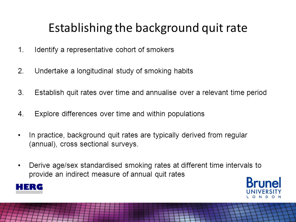 Establishing the background quit rate 1.Identify a representative cohort of smokers 2.Undertake a longitudinal study of smoking habits 3.Establish qui