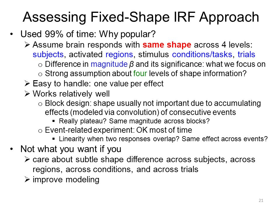 Assessing Fixed-Shape IRF Approach Used 99% of time: Why popular?  Assume brain responds with same shape across 4 levels: subjects, activated regions