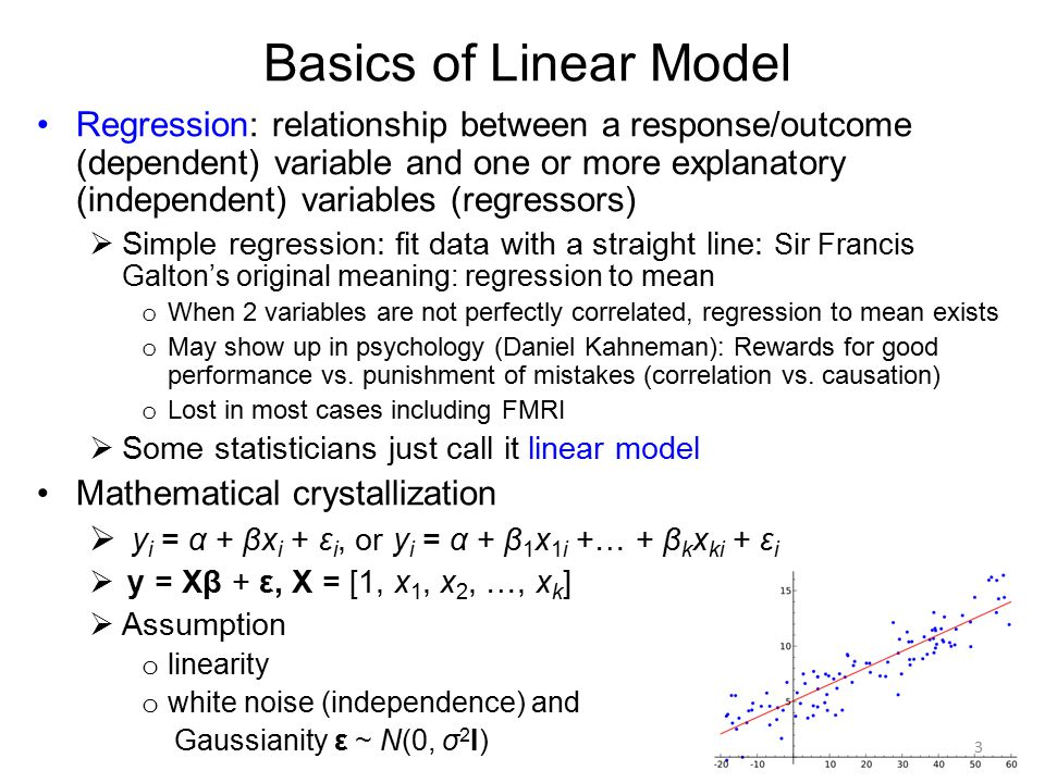 Basics of Linear Model Regression: relationship between a response/outcome (dependent) variable and one or more explanatory (independent) variables (r