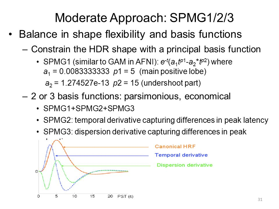 Moderate Approach: SPMG1/2/3 Balance in shape flexibility and basis functions –Constrain the HDR shape with a principal basis function SPMG1 (similar