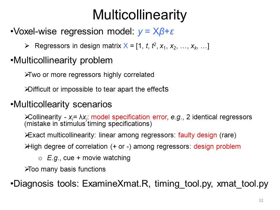 Multicollinearity Voxel-wise regression model: y = Xβ+ε  Regressors in design matrix X = [1, t, t 2, x 1, x 2, …, x k, …] Multicollinearity problem 