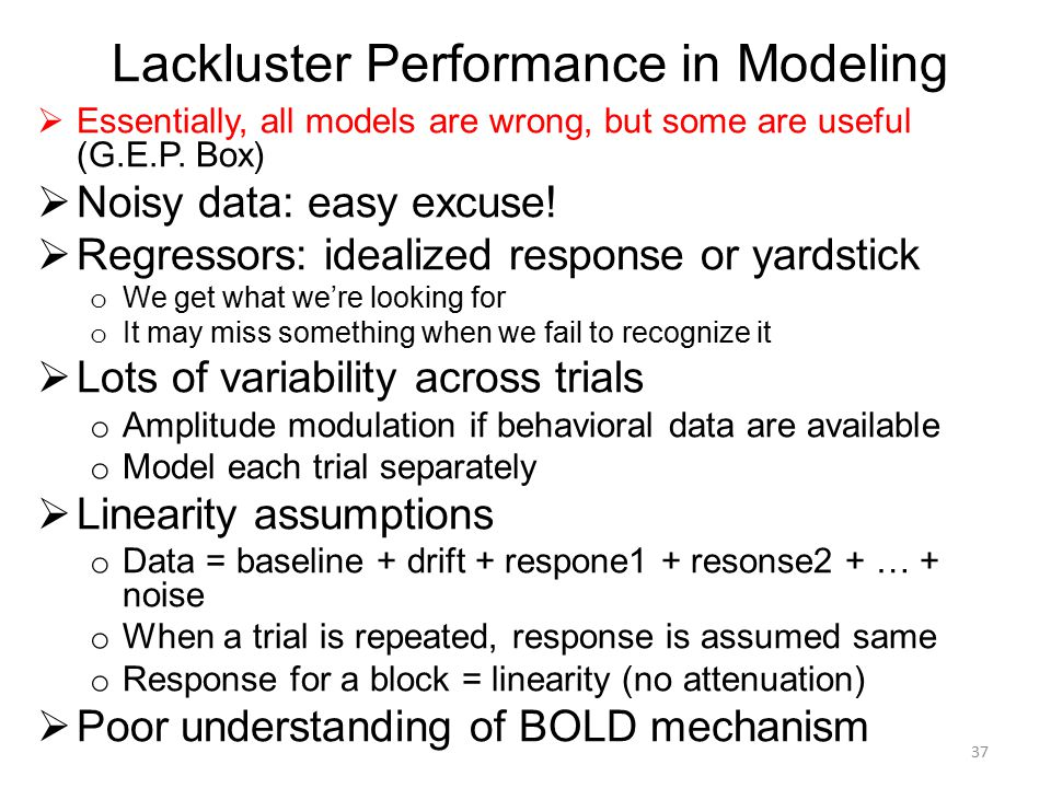 Lackluster Performance in Modeling  Essentially, all models are wrong, but some are useful (G.E.P. Box)  Noisy data: easy excuse!  Regressors: idea