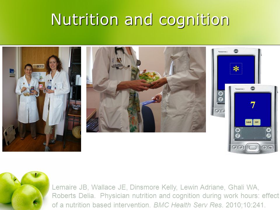 Nutrition and cognition Lemaire JB, Wallace JE, Dinsmore Kelly, Lewin Adriane, Ghali WA, Roberts Delia.