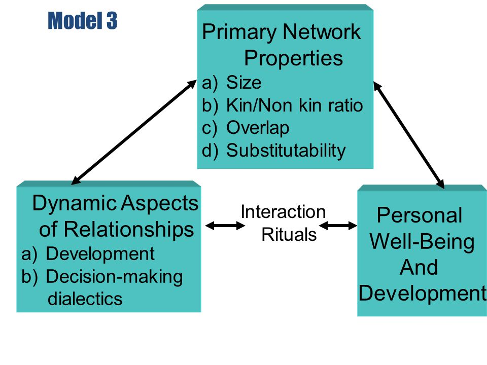 Model 3 Interaction Rituals Personal Well-Being And Development Dynamic Aspects of Relationships a)Development b)Decision-making dialectics Primary Ne