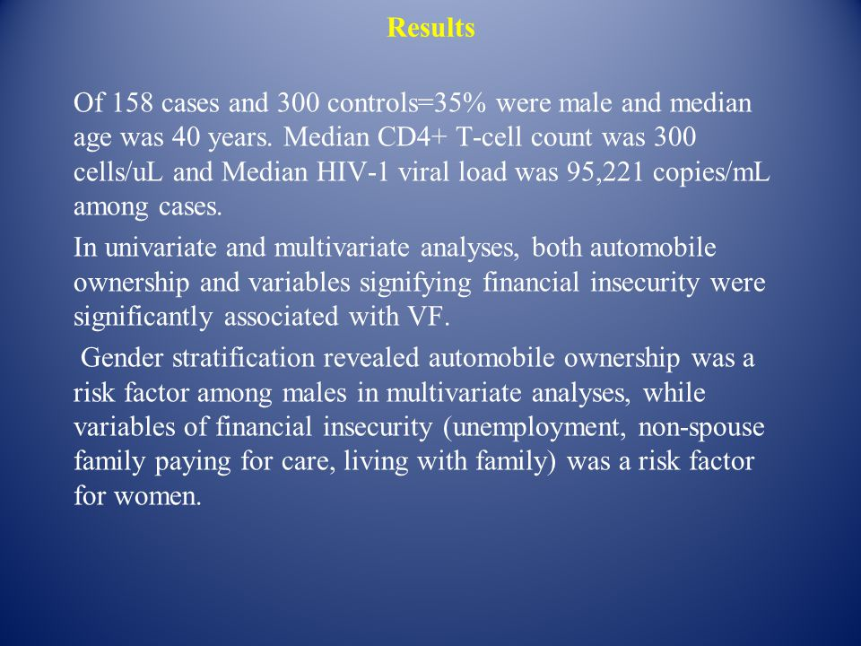 Results Of 158 cases and 300 controls=35% were male and median age was 40 years. Median CD4+ T-cell count was 300 cells/uL and Median HIV-1 viral load
