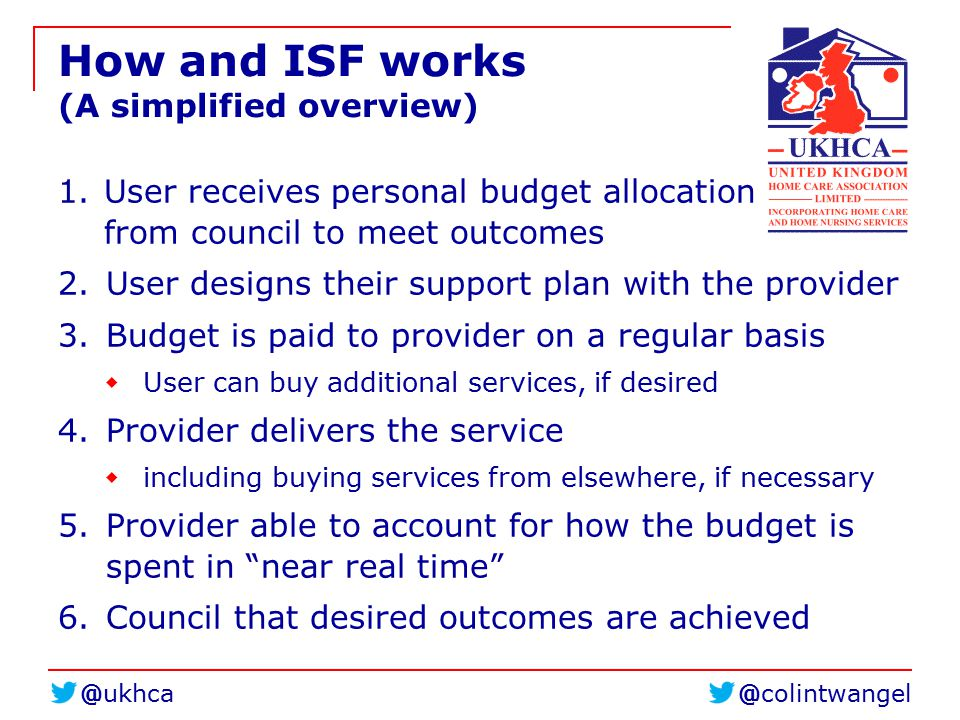 @colintwangel@ukhca How and ISF works (A simplified overview) 1. User receives personal budget allocation from council to meet outcomes 2. User design
