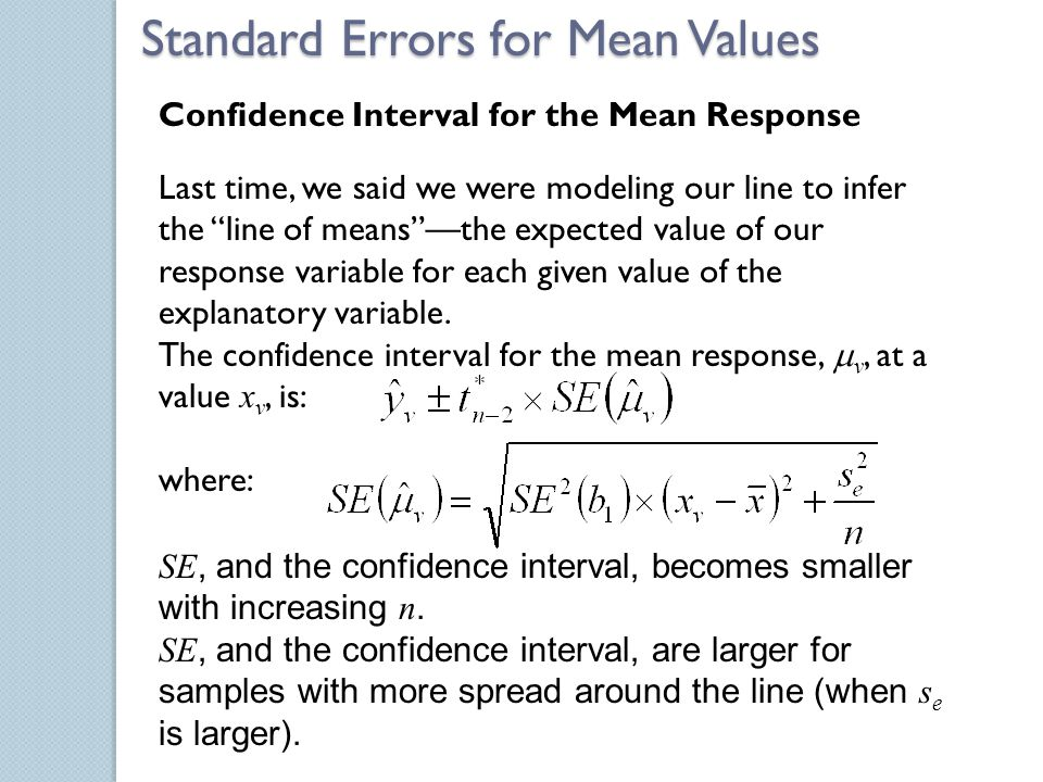 SE, and the confidence interval, becomes smaller with increasing n. SE, and the confidence interval, are larger for samples with more spread around th