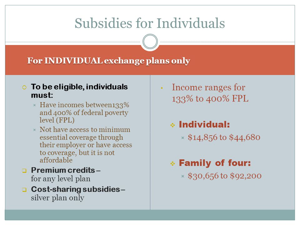 For INDIVIDUAL exchange plans only  To be eligible, individuals must:  Have incomes between133% and 400% of federal poverty level (FPL)  Not have access to minimum essential coverage through their employer or have access to coverage, but it is not affordable  Premium credits – for any level plan  Cost-sharing subsidies – silver plan only Income ranges for 133% to 400% FPL  Individual:  $14,856 to $44,680  Family of four:  $30,656 to $92,200 Subsidies for Individuals