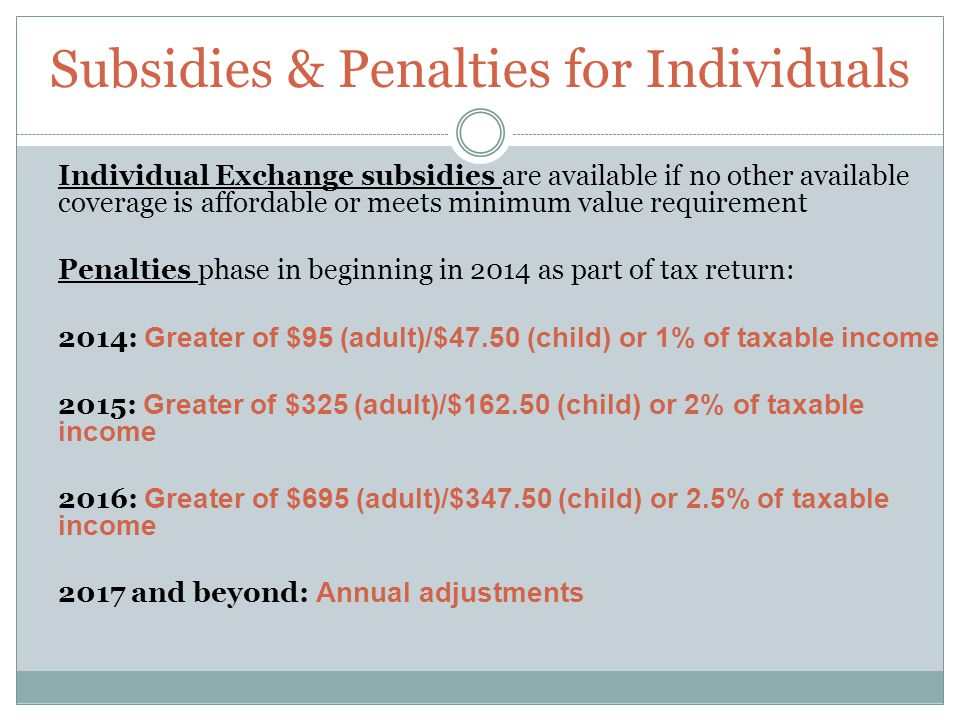 Subsidies & Penalties for Individuals Individual Exchange subsidies are available if no other available coverage is affordable or meets minimum value requirement Penalties phase in beginning in 2014 as part of tax return: 2014: Greater of $95 (adult)/$47.50 (child) or 1% of taxable income 2015: Greater of $325 (adult)/$162.50 (child) or 2% of taxable income 2016: Greater of $695 (adult)/$347.50 (child) or 2.5% of taxable income 2017 and beyond: Annual adjustments